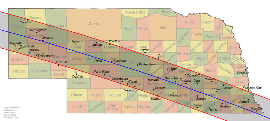 Village Of Fairmont Eclipse - Us total eclipse 2017 map